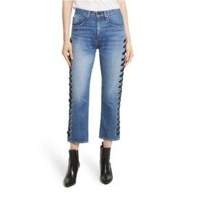VERONICA BEARD Ines Lace Up Sides High Rise Jeans